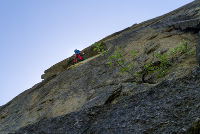 "Klemen Premrl on second pitch of ""Totem Bianco"" 7a, Disetore, Valle dell'Orco, Italy."