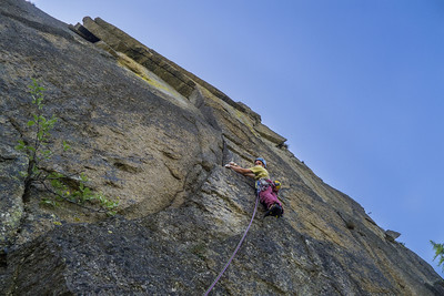 """Matej Stular on second pitch of """"Totem Bianco"""" 7a, Disetore, Valle dell'Orco, Italy."""