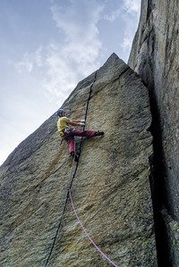 "Matej Stular in fourth pitch of ""Canabis"" 7b+, Sergent, Valle dell'Orco, Italy."