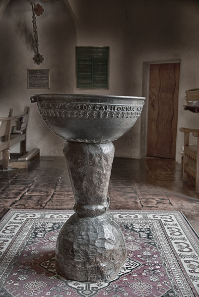Holy water at entrance to Mission Chapel