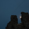 Moon Peeking Around Tufa