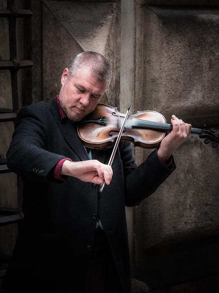 Violinist on Street, Genoa
