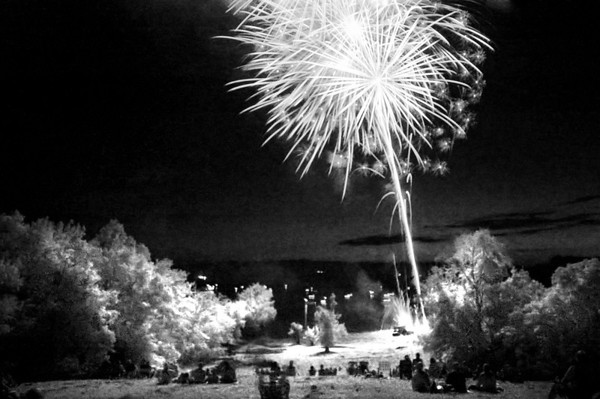 My first attempt at infrared fireworks..the focus was off and the amount of IR captured wasn't what I wanted, but I plan to try again next year with additional research and practice.