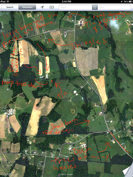 View this map at original size or contact me for a new one.   Screenshot of areas in photo(s) along 839, Popular Spring and Barbour Road in Nobob, KY. Do you see the 'line' of damage if you connect the locations starting with damage along HWY 90 before 839 until Barbour Rd?