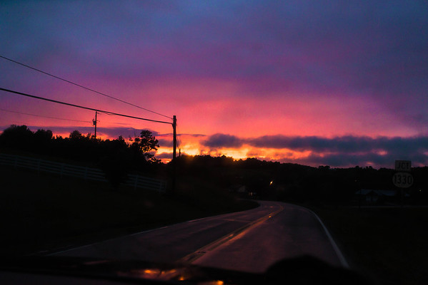 The sky was on fire on our way to Barren River Lake for the 4th of July Fireworks show. It was beautiful to see the colorful reflections on the wet surfaces.