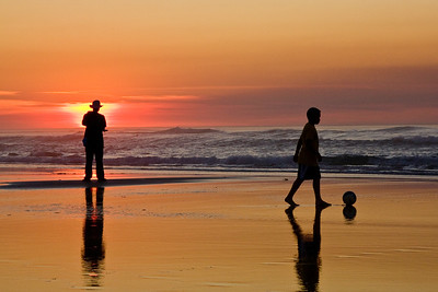 Asilomar_Beach-Man&Bpy at Sunset
