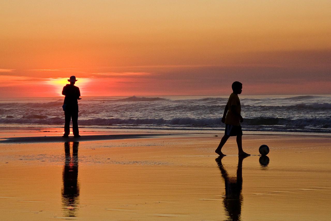Asilomar_Beach-Man&Bpy at Sunset