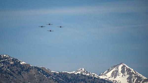 Warbird Flyover, Memorial Day 2016, Ketchum, Idaho