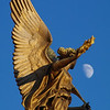 Statue looking at the moon in Prague, Czech Republic