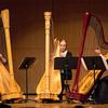 Harpists Katie Calderwood, Rachel Miller and Sarah Close