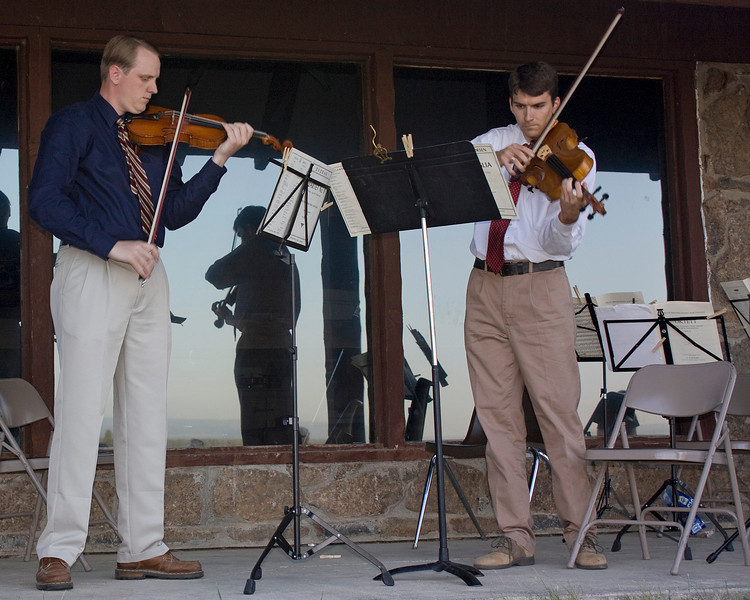 Richard Ferguson and Dr. Jonathan Hillman (viola professor) member of the Mountains and Strings Festival faculty at Harriman State Park in Idaho playing a duet. July 9, 2008