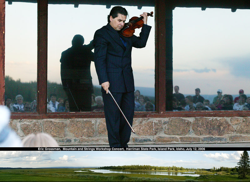 Eric Grossman performs at the Mountain & Strings Workshop Concert July 12th 2006 at Harriman State Park on the Henry's Fork of the Snake River in Idaho (see bottom inset for panorama of view artist had while playing). Will print in high resolution.