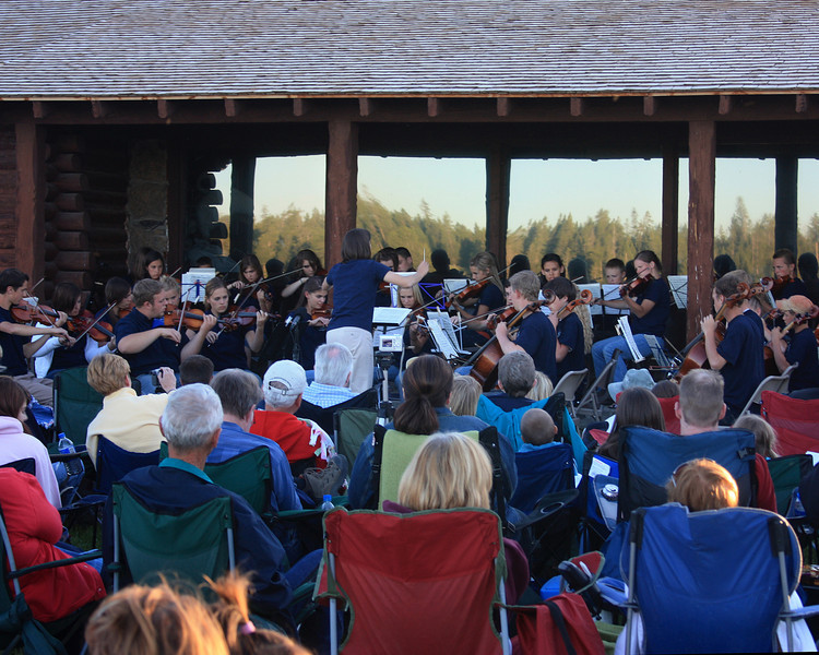 Orchestra playing concert at Mountains and Strings workshop at Harriman State Park Ranch, Island Park, Idaho. July 12, 2008
