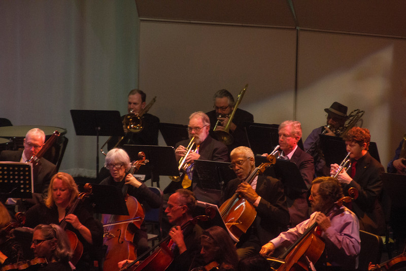 Tom Hyde, principle trumpet with the American Philharmonic Orchestra of Sonoma County performing in Santa Rosa on Nov 18, 2012. Tom is my high school friend in the center of the image.