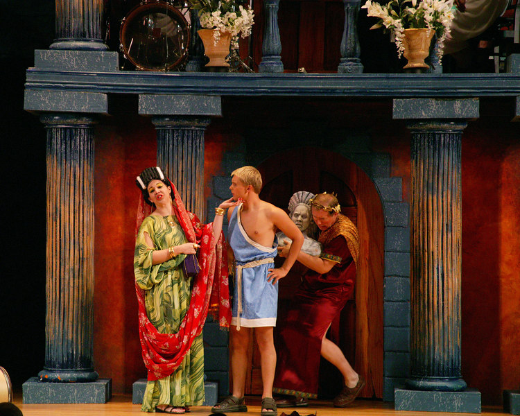 """Genevieve Perdue playing Domina in """"Funny Thing Happened on the way to the Forum"""" at Casper College, WY 2002."""