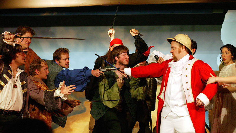 """Attack on the modern major general, at the Mack's Inn Theatre performance of """"Pirates of Penzance"""", June 2006."""