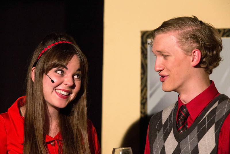 "Miriam Blaser and Hugh Butterfield in ""Lucky Stiff"" musical."
