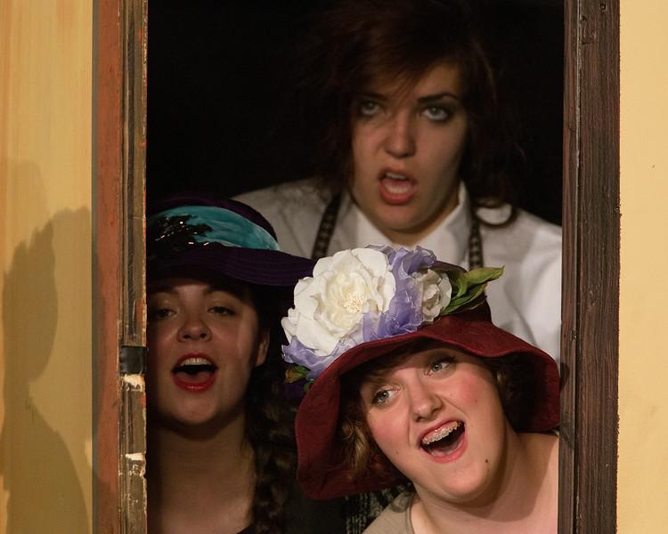 """Amy Heimbigner, Brenna Palfi and Jillian Carter  in """"Lucky Stiff"""" musical"""