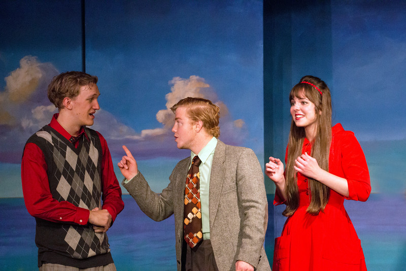 """Hugh Butterfield, Darren Robinson, and Miriam Blaser in """"Lucky Stiff"""" musical"""
