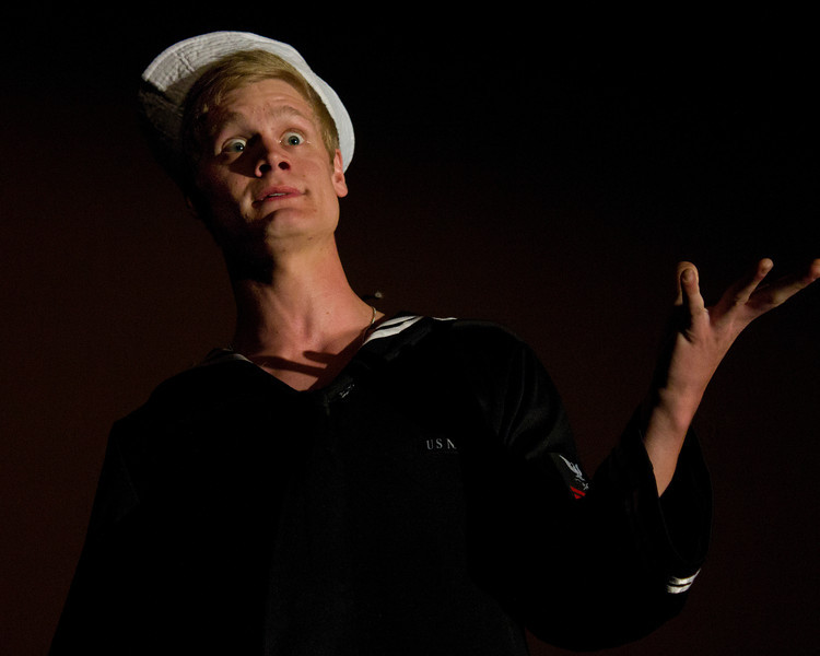 """Jacob Aaron Cullum as Dick in the Pinecone  Playhouse production of """"Dames at Sea"""", July 18, 2012 in West Yellowstone, MT."""