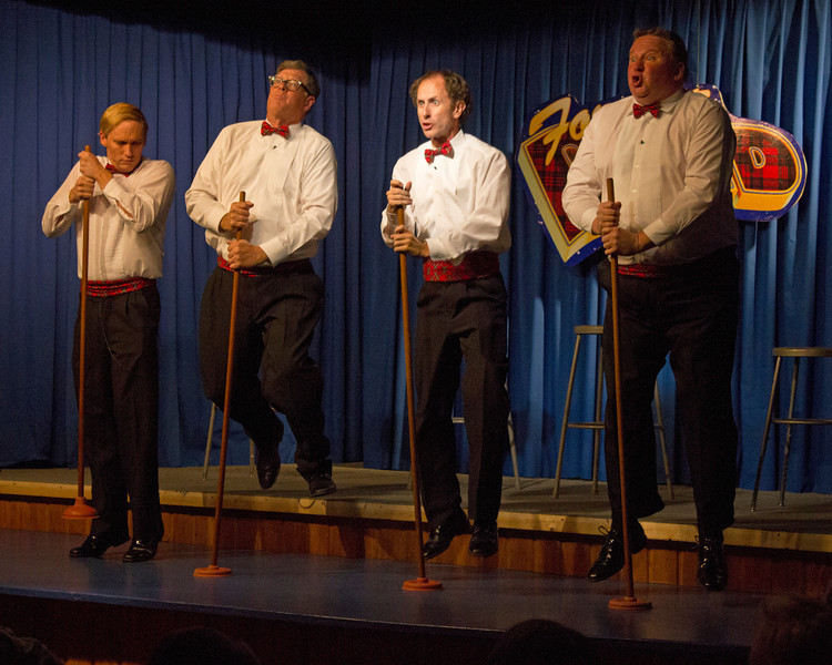 """Practicing with pretend microphones as part of The Pinecone Playhouse production of """"Forever Plaid"""" opened Sep 3, 2012 in West Yellowstone, Montana. Great production starred from left, Derek Gregerson (as Frankie), Don Torgerson (as Smudge),  Blair Bybee (as Jinx) and Bryon Finch (as Sparky), The comedy was as good as the singing of the early 50's romantic songs."""
