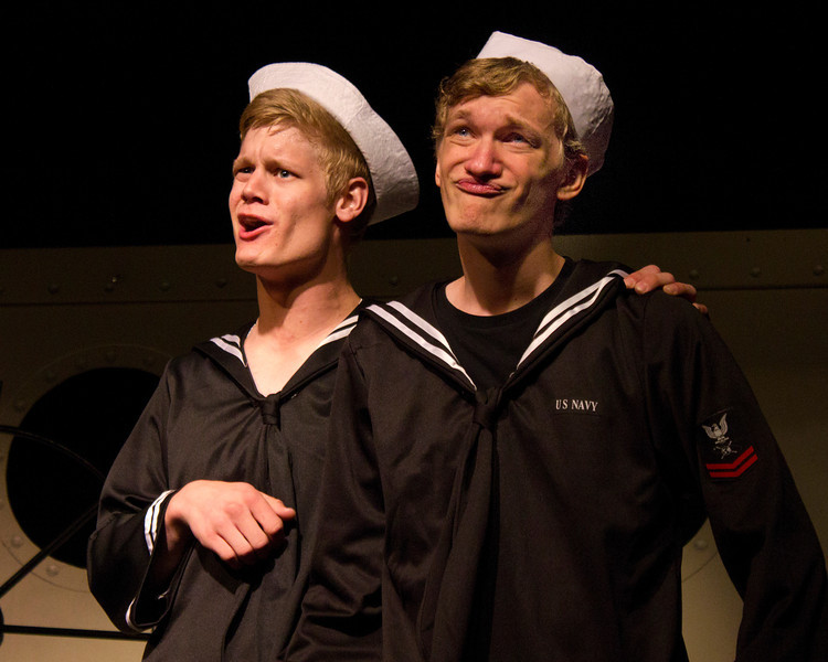 """From left, Jacob Aaron Cullum as Dick and Hugh Butterfield as Lucky in the Pinecone  Playhouse production of """"Dames at Sea"""", July 18, 2012 in West Yellowstone, MT."""