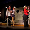 """They all decide to get married. From left, Hugh Butterfield as Lucky, Emily Volf as Joan, Jacob Cullum as Dick, Emily Quinn Monrad as Ruby, Lisa Burton Carter as Mona Kent and Bryon Finch as the rich """"captain"""" in the Pinecone  Playhouse production of """"Dames at Sea"""", July 18, 2012 in West Yellowstone, MT."""
