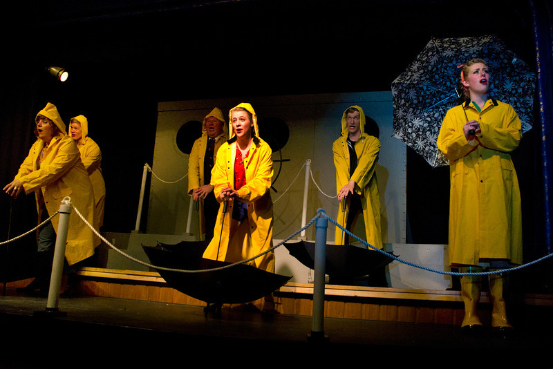 """Cast of """"Dames at Sea"""" at the Pinecone Playhouse in West Yellowstone. July 18, 2012. from left, Lisa Burton Carter,  Jacob Cullum,  Bryon Finch, Emily Volf, Hugh Butterfield, and Emily Quinn Monrad."""