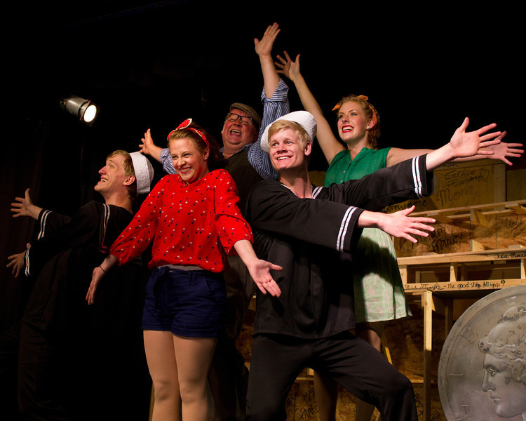 """Cast of """"Dames at Sea"""" at the Pinecone Playhouse in West Yellowstone. July 18, 2012. from left, Hugh Butterfield as Lucky, Emily Volf as Joan, Bryon Finch as Hennesy, Jacob Cullum as Dick, and Emily Quinn Monrad as Ruby."""