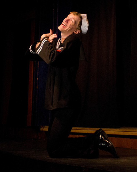 """Hugh Butterfield as Lucky in the Pinecone  Playhouse production of """"Dames at Sea"""", July 18, 2012 in West Yellowstone, MT."""