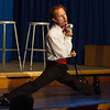 """Blair Bybee as Jinx in Pinecone Playhouse production of """"Forever Plaid"""", doing the splits and singing. Sep 3, 2012, West Yellowstone, MT."""