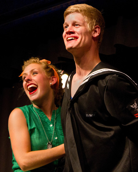 """Emily Quinn Monrad as Ruby and Jacob Aaron Cullum as Dick in the Pinecone  Playhouse production of """"Dames at Sea"""", July 18, 2012 in West Yellowstone, MT."""