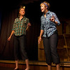 """Kaitlyn Carter on left and Maise Gospodarek entertaining the audience prior to the Pinecone  Playhouse production of """"Dames at Sea"""", July 18, 2012 in West Yellowstone, MT."""