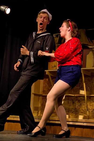 """Hugh Butterfield as Lucky and Emily Volf as Joan in the Pinecone Playhouse production of """"Dames at Sea"""". July 18, 2012."""