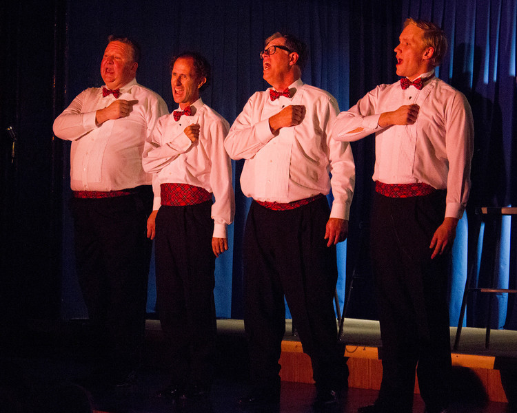 """Singing with all their hearts. The Pinecone Playhouse production of """"Forever Plaid"""" opened Sep 3, 2012 in West Yellowstone, Montana. Great production starred from left, Bryon Finch (as Sparky), Blair Bybee (as Jinx), Don Torgerson (as Smudge),   and Derek Gregerson (as Frankie)."""