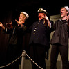 """Jacob Aaron Cullum as Dick, Bryon Finch as """"the captain"""", and Hugh Butterield as Lucky in the Pinecone  Playhouse production of """"Dames at Sea"""", July 18, 2012 in West Yellowstone, MT."""