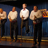 "Up in the air!! Practicing with pretend microphones as part of The Pinecone Playhouse production of ""Forever Plaid"" opened Sep 3, 2012 in West Yellowstone, Montana. Great production starred from left, Derek Gregerson (as Frankie), Don Torgerson (as Smudge),  Blair Bybee (as Jinx) and Bryon Finch (as Sparky), The comedy was as good as the singing of the early 50's romantic songs."