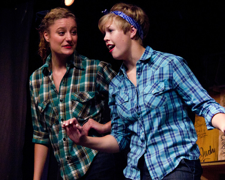 """Kaityln Carter on the left and Maise Gospodarek are entertaining the audition prior to the Pinecone  Playhouse production of """"Dames at Sea"""", July 18, 2012 in West Yellowstone, MT."""