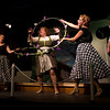 """From left, Emily Volf as Joan, Lisa Burton Carter as Mona Kent, Emily Quinn Monrad as Ruby, Jacob Cullum as Dick and Bryon Finch as Hennesy in the Pinecone  Playhouse production of """"Dames at Sea"""", July 18, 2012 in West Yellowstone, MT."""