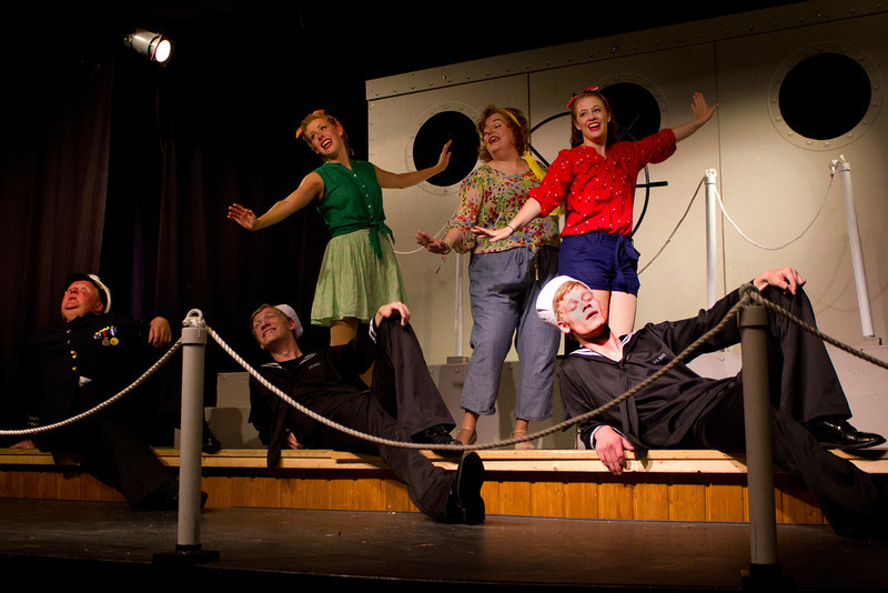 """Cast of """"Dames at Sea"""" performed by the Pinecone Playhouse, July 18, 2012, West Yellowstone, MT. From left, Bryon Finch as Hennesy, Hugh Butterfield as Lucky, Emily Quinn Monrad as Ruby, Lisa Burton Carter as Mona Kent,  Emily Volf, as Joan, and Jacob Cullum as Dick."""