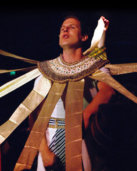 "David Walker is ""crowned"" in Joseph and the Amazing Technicolor Dreamcoat at the Playmill Theatre, West Yellowstone, MT August 2006"