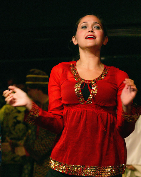 Rachel Lynn Woodward playing the narrator in the Playmill Theatre's summer production of Joseph and the Amazing Technicolor Dreamcoat, West Yellowstone, MT August 2006