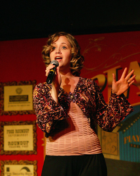 Andrea Daveline sings during the pre-show for Joseph (..and Dreamcoat) at the Playmill Theatre during the Summer 2006 season in West Yellowstone, MT.
