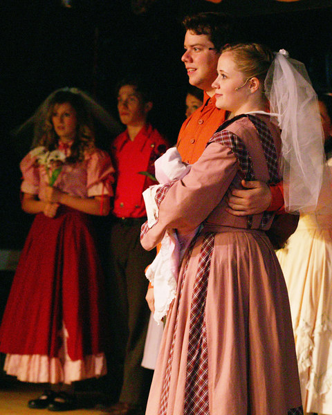 "Andrea and Adam Daveline play the lead roles in ""Seven Brides for Seven Brothers"" performed in the Summer 2006 season at the Playmill Theatre in West Yellowstone, MT."