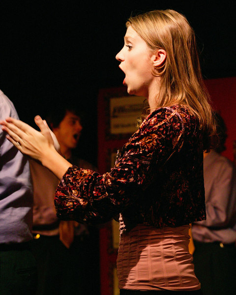 Kristi Lyn Bates during one of her energetic skits in the pre-show at the Playmill Theatre in West Yellowstone, MT, August 2006.