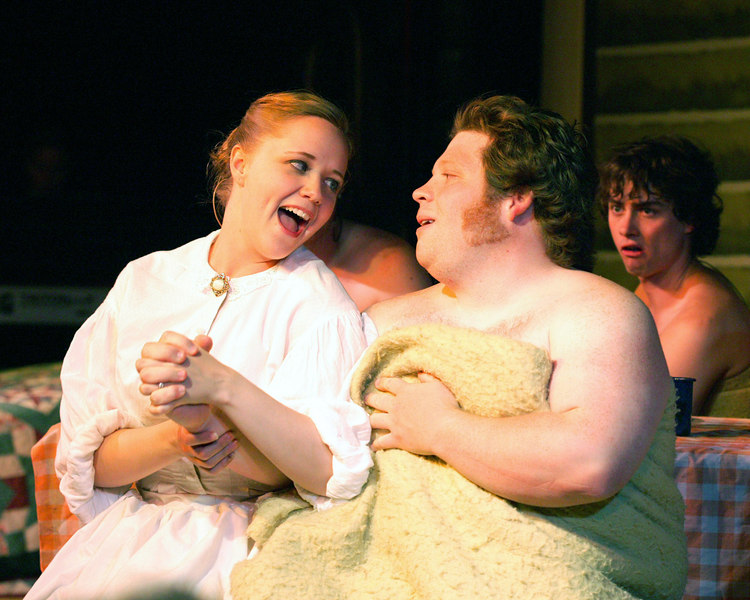 "Andrea Daveline and Christian Busath sing together in ""Seven Brides for Seven Brothers"" performed in the Summer 2006 season at the Playmill Theatre in West Yellowstone, MT."