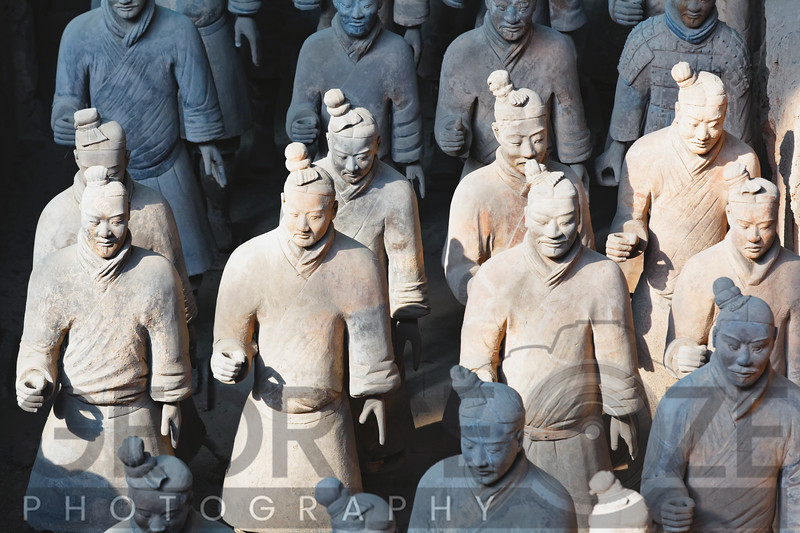 Close Up View of Terracotta Warriors in a Burial Site, Xian, Shaanxi Province, China
