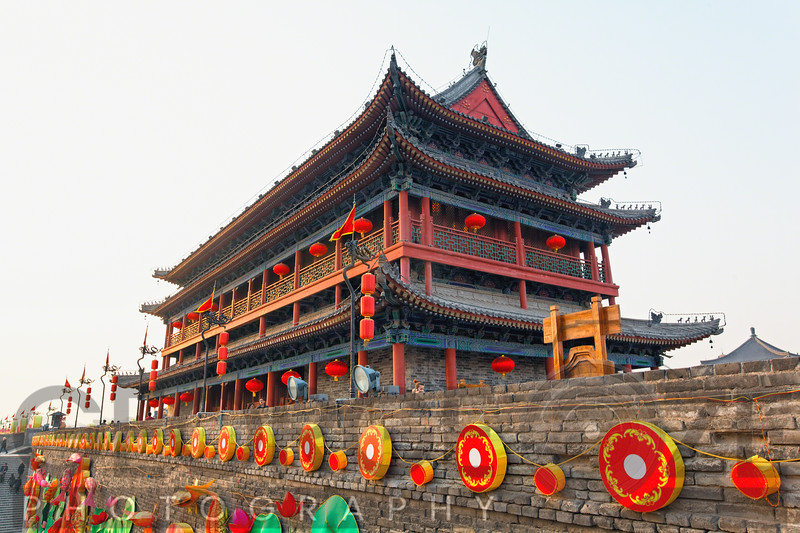 Low Angle View of Xian City Gate and Tower Decorated During Chinese New Year Celebration, Shaanxi, China