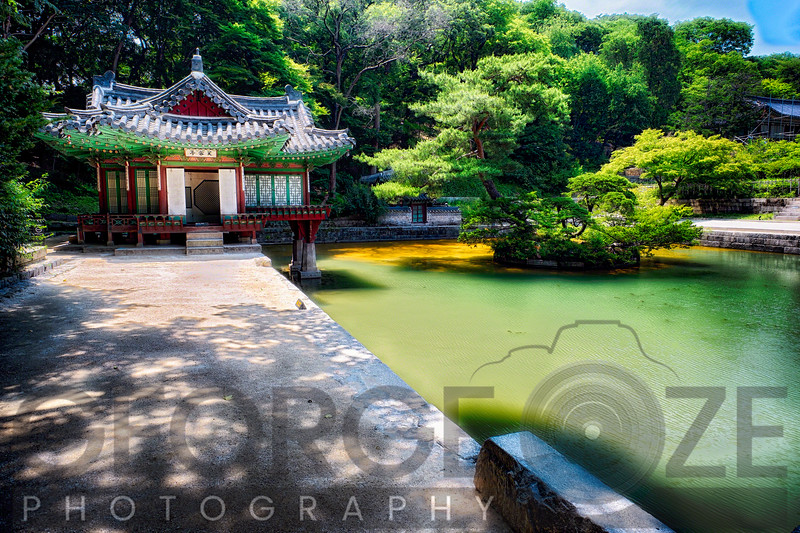 Buyongjeong Pavilion with a Pond, Huwon Area, Secret Garden, Changdeokgung Palace Complex, Seoul, South Korea