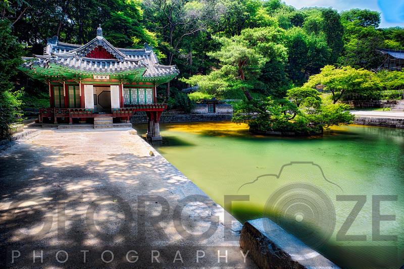 Buyongjeong Pavilion with a Pond, Huwon Area, Secret Garden, Changdeokgung Palace Complex, Seoul, South Korea